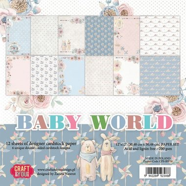 Craft&You Baby World big paper set 12x12 12 vel