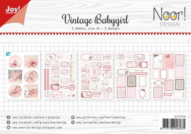 Joy! labelsheets cuttingsheet vintage baby girl 6011/0416