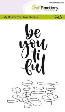 CraftEmotions clearstamps A6 -  handletter -  be you ti ful (Eng) Carla Kamphuis