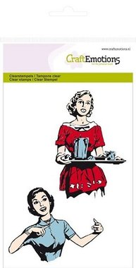 CraftEmotions clearstampel 2 lady's fifties kitchen