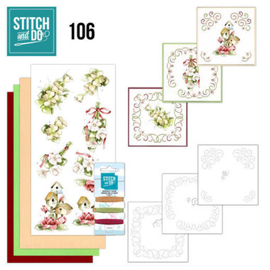 Stitch and Do Pink spring flowers nr106