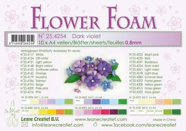 LeCrea - Flower Foam A4 donker paars 0.8mm