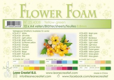 LeCrea - Flower Foam A4 geel groen 0.8mm