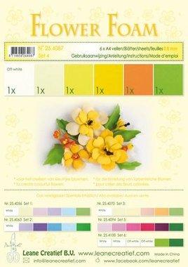 LeCrea - Flower Foam assort. 4, 6 vel A4 geel 0.8mm