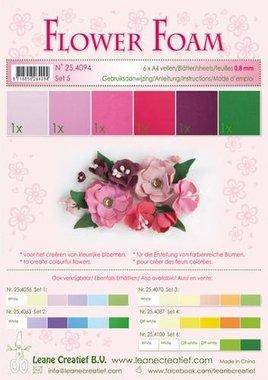LeCrea - Flower Foam assort. 5, 6 vel A4 rood, roze 0.8mm