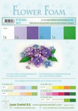 LeCrea - Flower Foam assort. 2, 6 vel A4 blauw, paars 0.8mm