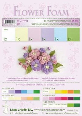 LeCrea - Flower Foam assort. 1, 6 vel A4 pastel 0.8mm