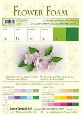 LeCrea - Flower Foam assort. 6, 6 vel A4 wit groen 0.8mm