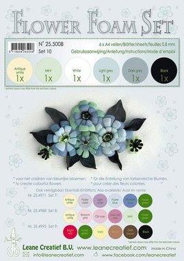 LeCrea - Flower Foam Set 10, 6 sh A4 0.8mm zwart, grijs