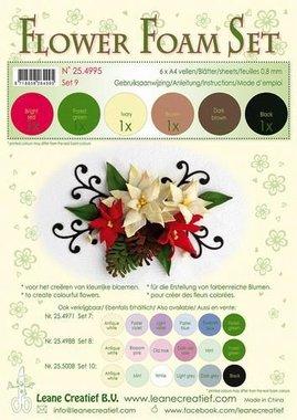 LeCrea - Flower Foam Set 9, 6 sh A4 0.8mm bruin, rood, groen