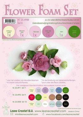 LeCrea - Flower Foam Set 8, 6 sh A4 0.8mm oude roze