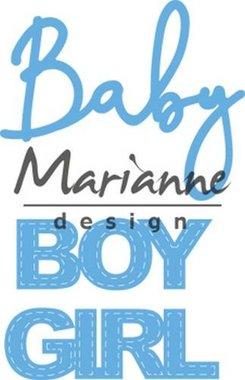 Marianne Design Creatable Baby text boy & girl LR0576