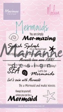 Marianne Design Clear Stamps Mermaid sentiments by Marleen (Eng) CS1025