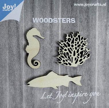 Joy! Woodsters houten figuren (3) zeepaard koraal vis 6320/0004
