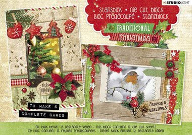 Studio Light Die cut blocs A5 12 vel Traditional Christmas nr. 25