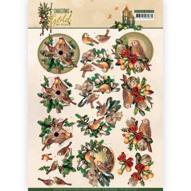 3D Knipvel - Amy Design - Christmas in Gold - Birds in Gold