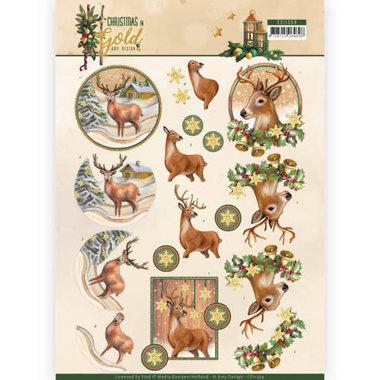 3D Knipvel - Amy Design - Christmas in Gold - Deers in Gold