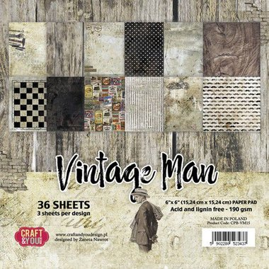 Craft&You Vintage Man Small Paper Pad 6x6 36 vel