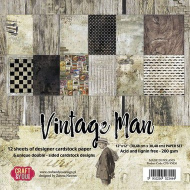 Craft&You Vintage Man BIG Paper Set 12x12 12 vel