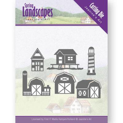 Dies - Jeanine's Art - Spring Landscapes - houses on the horizon