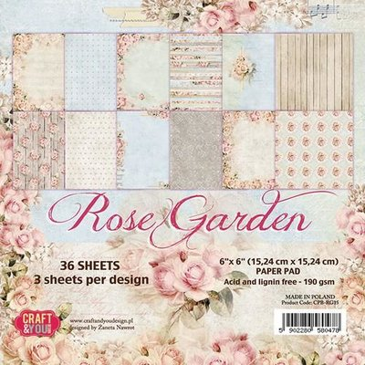 Craft&You Rose Garden Small Paper Pad 6x6 36 vel