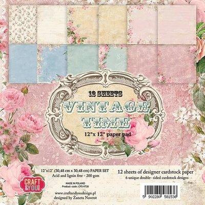 Craft&You Vintage Time Big Paper Set 12x12 12 vel