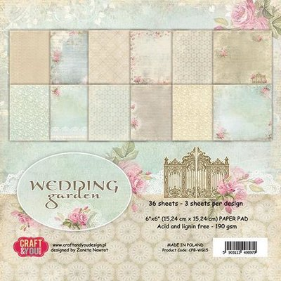 Craft&You Wedding Garden Small Paper Pad 6x6 36 vel