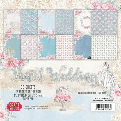 Craft&You Pastel Wedding Small Paper Pad 6x6 36 vel