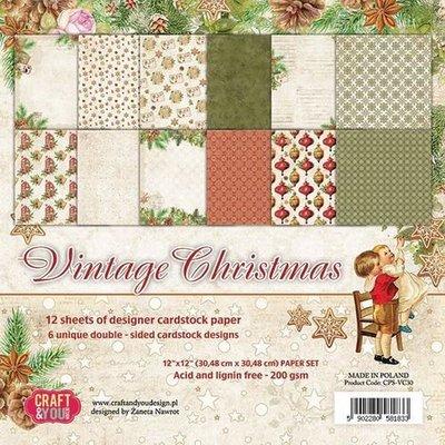 Craft&You Vintage Christmas Big Papper Set 12x12 12 vel