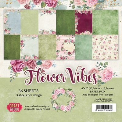 Craft&You Flower Vibes small paper pad 6x6 36 vel