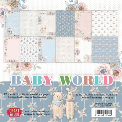 Craft&You Baby World big paper set 12x12 12 vel