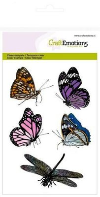 CraftEmotions clearstamps A6 - vlinders, libelle