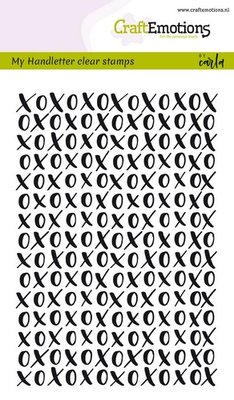 CraftEmotions clearstamps A6 - handletter XOXO achtergrond Carla Kamphuis