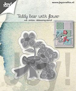 Joy! stencil Teddybeer met bloem 6002/1307