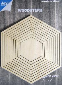 Joy! Woodsters houten hexagons (9) voor schudkaarten en deco 6320/0012