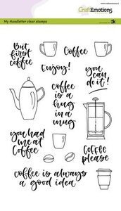 CraftEmotions clearstamps A5 - handletter - Coffee please (Eng) Carla Kamphuis