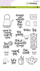 CraftEmotions clearstamps A5 - handletter - Tea Time (Eng) Carla Kamphuis