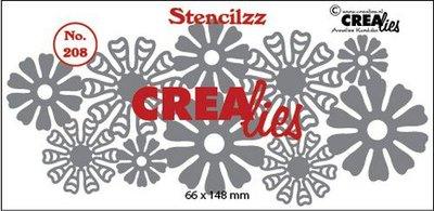 Crealies Stencilzz no. 208 bloemetjes  66 x 148mm