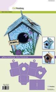 CraftEmotions stencil- giftbox - vogelhuis