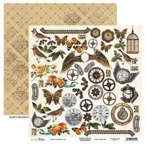 ScrapBoys Industrial Romance paper cut out elements  190gr 30,5cmx30,5cm