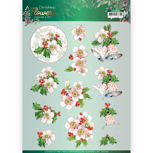 3D cutting sheet - Jeanines Art Christmas Flowers - Pink Christmas Flowers