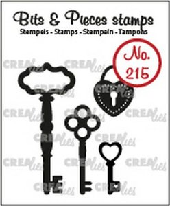 Crealies Clearstamp Bits & Pieces 3x sleutels+ hangslot