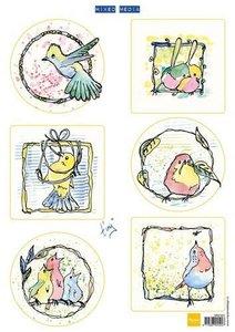 Marianne Design 3D Knipvellen Colourful birds MM1601