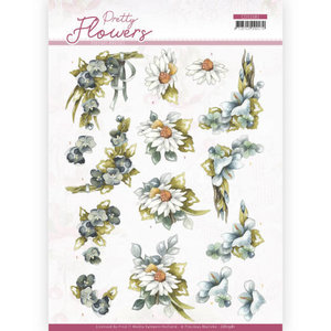 3D cutting sheet - Precious Marieke - Pretty Flowers - Blue Flowers