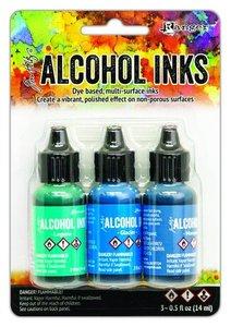 Ranger Alcohol Ink Ink Kits Teal/Blue Spectrum 3x15 ml Tim Holtz