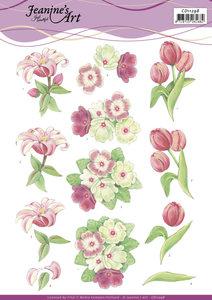 3D Cutting Sheet - Jeanine's Art - Red Flowers