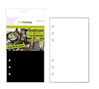 CraftEmotions karton kraft Ringband zwart 12 vel 12x20,5cm - 220 gr - 6 Ring A5