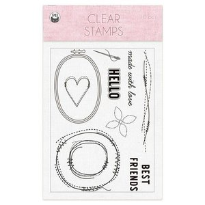Piatek13 - Clear stamp set Stitched with love 01 A6