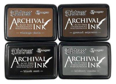 Ranger Distress Archival 4 Pack - Basics (Black,Espr,Smoke, Photo) Tim Holtz