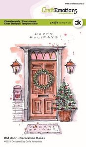 CraftEmotions clearstamps A6 - Oude deur - Decoration X-mas Carla Kamphuis